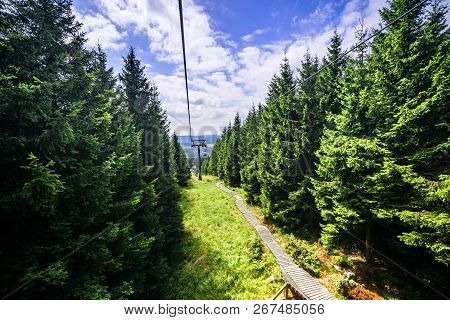 Mountain Lift In The Summer With Pine Trees Up The Hill Under A Blue Sky