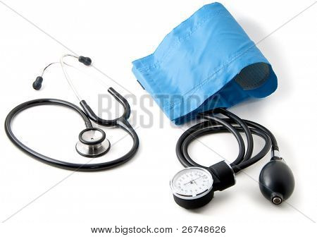 Medical stethoscope and blood pressure monitor isolated on white. Shallow depth of field. Focus on the center of the composition.