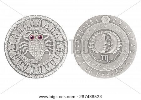 Scorpio Belarus Silver Coin 2009 Isolated White Background