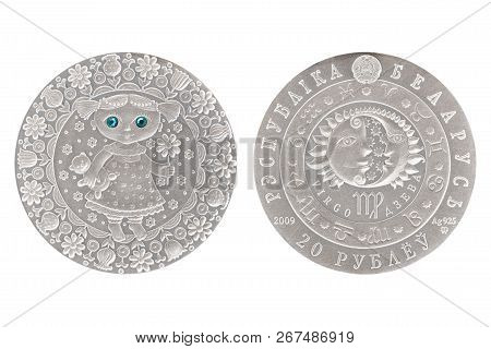 Virgo Belarus Silver Coin 2009 Isolated White Background