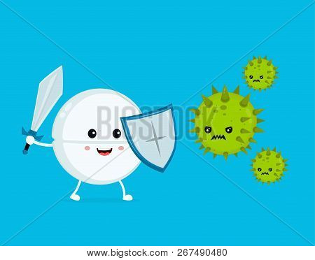 Cute Happy Funny Strong Tablet Guardian With Sword And Shield Fight With Bacteria Microorganism Viru