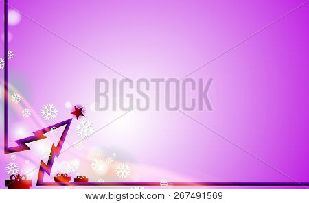 Violet Merry Christmas Modern Background With Purple Tree And Ornaments From Flicker Snowflakes. For