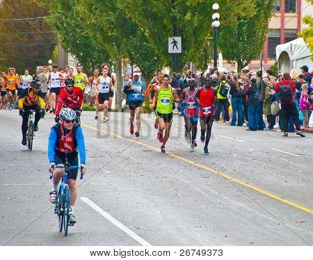 VICTORIA, BC, CANADA - OCTOBER 10: Runners compete at the GoodLife Fitness Victoria Marathon October 10, 2010 in Victoria, BC, Canada.