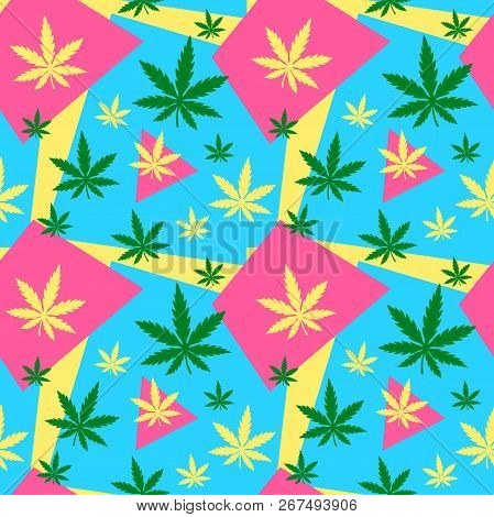 Marijuana,green Weed, Dope Seamless Pattern With Abstract Color Geometry. Vector Illustration Backgr