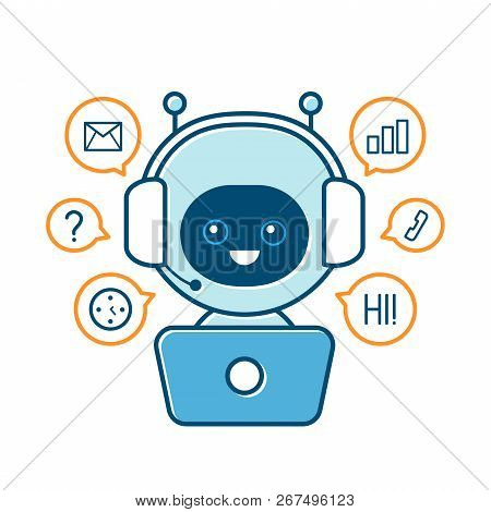 Cute Smiling Robot,chat Bot And Communication Signs.vector Modern Flat Cartoon Character Illustratio