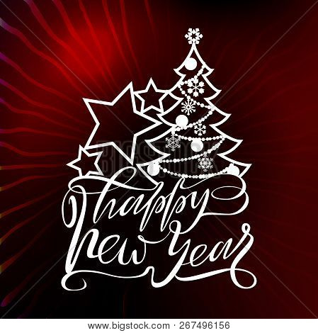 Happy New Year Text Design For Laser Cutting. Vector Logo With Christmas Elements. Usable As A Banne