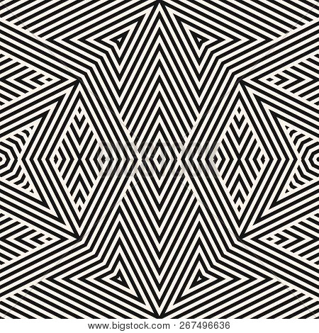 Vector Geometric Lines Pattern. Modern Seamless Ornament. Black And White Linear Background With Str