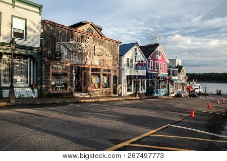BAR HARBOUR, MAINE, USA - JULY 12, 2013: Beautiful morning in dowtown Bar Harbor,