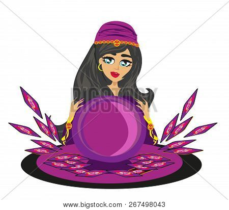 Fortune Teller Woman With Magic Ball , Vector Illustration