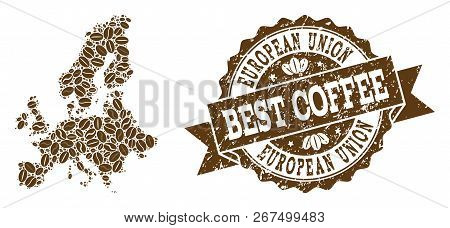 Compositions Of Coffee Map Of Euro Union And Grunge Stamp Seal. Mosaic Vector Map Of Euro Union Is C