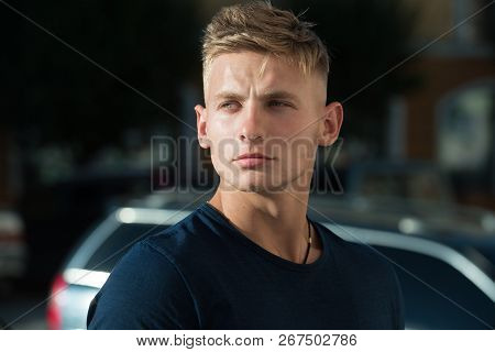 Young And Muscular. Handsome Man Wear Casual Fashion Clothes. Muscular Fashion Model. Athletic Healt