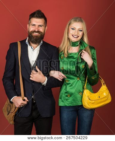 Feeling Free And Happy. Autumn Fashion Trends. Couple In Love In Fashionable Style. Fashion Couple O