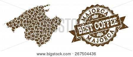 Compositions Of Coffee Map Of Majorca And Grunge Stamp Seal. Mosaic Vector Map Of Majorca Is Compose