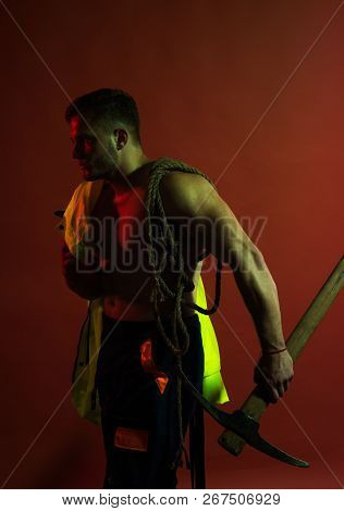 Being Under Construction. Hard Worker With Muscular Torso. Construction Worker Or Man Miner With Min