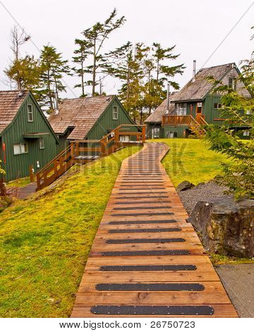 Two beautiful cabins at Porteau Cove park, Vancouver, Canada.
