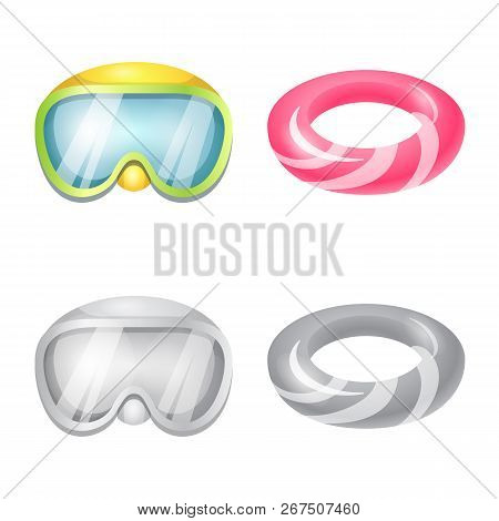 Vector Illustration Of Equipment And Swimming Symbol. Set Of Equipment And Activity Stock Symbol For
