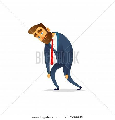 Charming Bearded Businessman Tired. The Manager Is Depressed And Tired From Work
