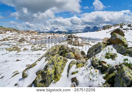Snow and ice on a summit in the French Alps mountains