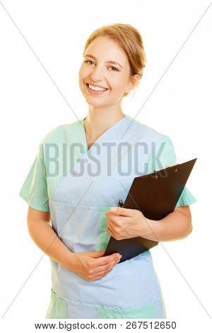 Smiling woman as a nurse from ambulatory nursing service in frock
