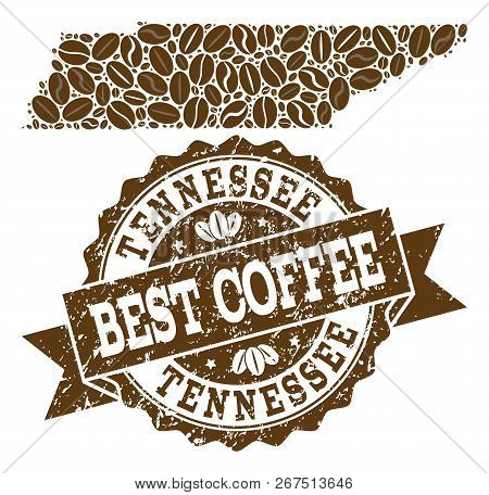 Compositions Of Coffee Map Of Tennessee State And Grunge Stamp Seal. Mosaic Vector Map Of Tennessee