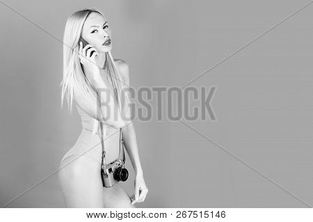 Photographer, Model With Adorable Face, Pretty Woman Or Cute Girl In Yellow Bodysuit With Stylish Ma