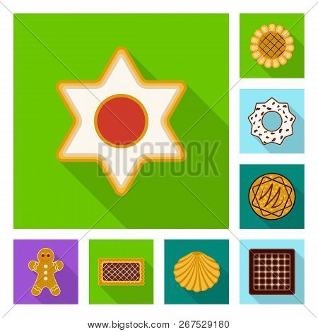 Isolated Object Of Biscuit And Bake Symbol. Collection Of Biscuit And Chocolate Stock Symbol For Web