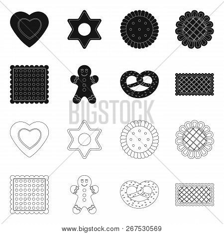 Vector Design Of Biscuit And Bake Sign. Collection Of Biscuit And Chocolate Stock Vector Illustratio
