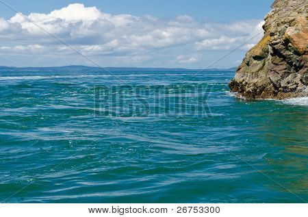 Rocks and ocean view at Whidbey Island in the U.S. state of Washington