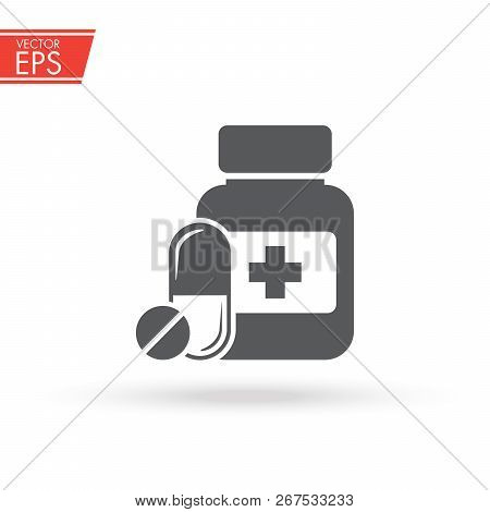 Medicine Bottle And Pills. Pill Icon. Medicine Capsule Sign. Vitamin Illustration. Medical Pharmacy