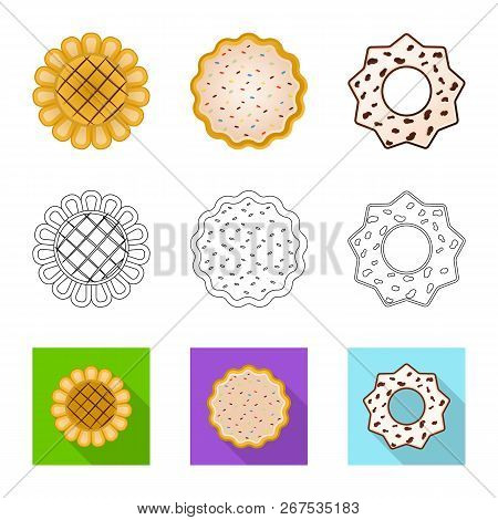Vector Illustration Of Biscuit And Bake Icon. Set Of Biscuit And Chocolate Stock Symbol For Web.