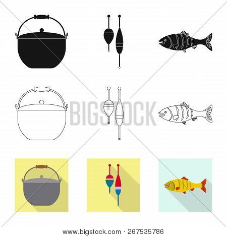 Isolated Object Of Fish And Fishing Icon. Set Of Fish And Equipment Stock Vector Illustration.