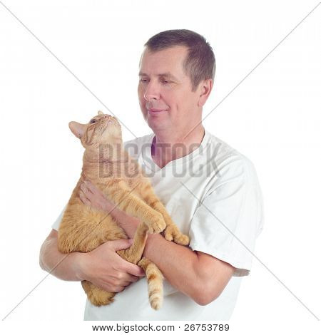 A man with an orange tabby cat isolated on white background. poster