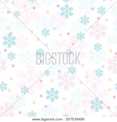 Pink Blue Christmas Snowflakes Seamless Pattern. Great For Winter Holidays Wallpaper, Backgrounds, I