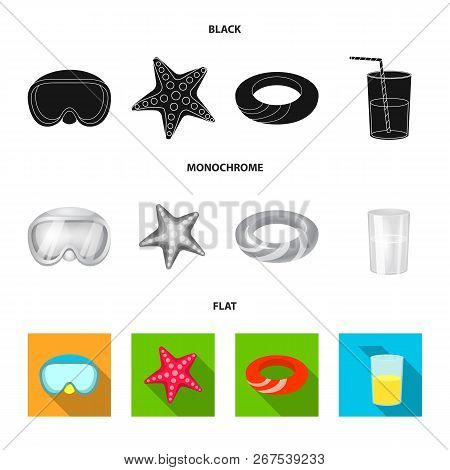 Vector Illustration Of Equipment And Swimming Sign. Collection Of Equipment And Activity Stock Symbo