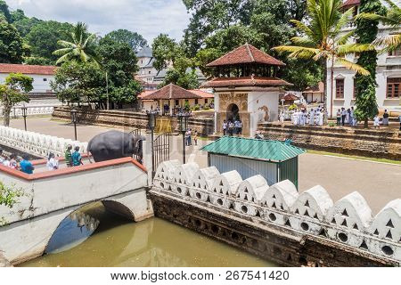 Kandy, Sri Lanka - July 19, 2016: White Clothed Buddhist Devotees During Poya Full Moon Holiday Watc