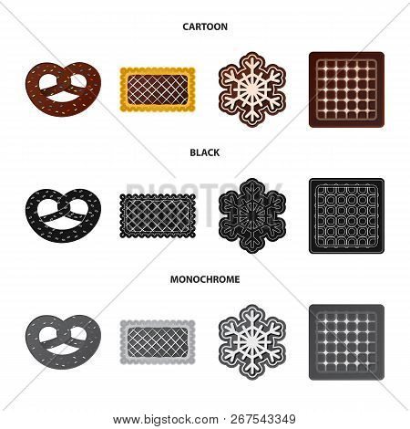 Vector Illustration Of Biscuit And Bake Sign. Collection Of Biscuit And Chocolate Vector Icon For St
