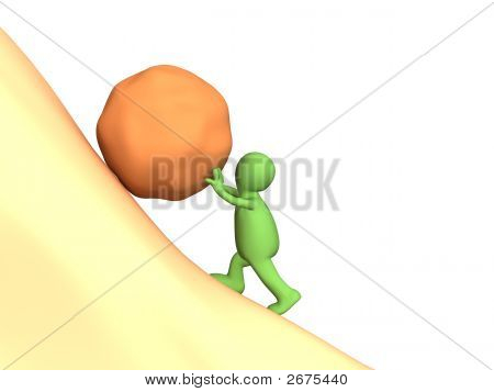 3D Person Puppet Pushing Uphill A Heavy Stone