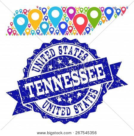 Compositions Of Bright Map Of Tennessee State And Grunge Stamp Seal. Mosaic Vector Map Of Tennessee