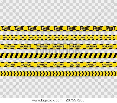 Vector Set Of Seamless Caution Tapes. Warning Tape, Danger Tape, Caution Tape, Danger Tape, Under Co