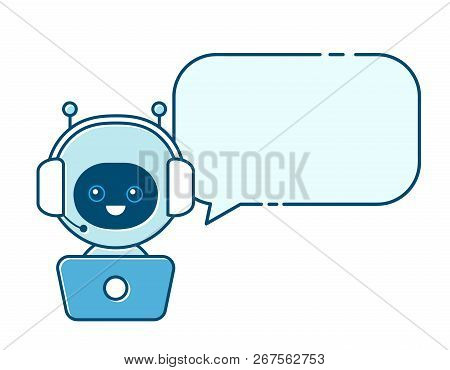 Cute Smiling Robot,chat Bot With Speech Bubble Sign.vector Modern Flat Cartoon Character Illustratio
