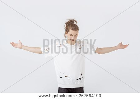 Man Cheers Success. Guy In Casual Stylish Clothes Shouting And Celebrating Success. Happy Emotional