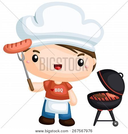 A Vector Of A Guy Barbeque His Sausage