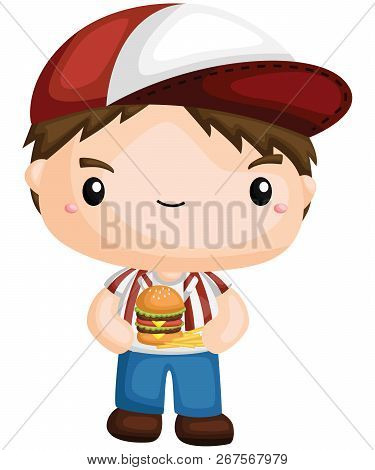 A Vector Of A Boy Holding A Burger And Fries