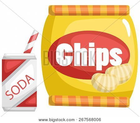A Vector Of A Chips And A Soda