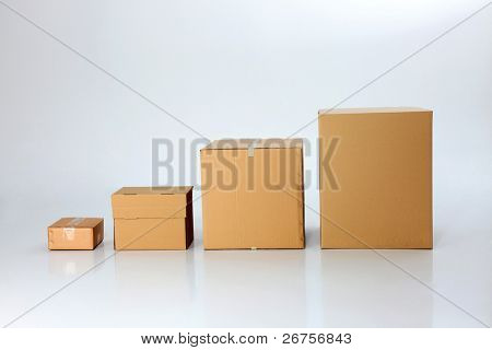 four difference size of box in  a line
