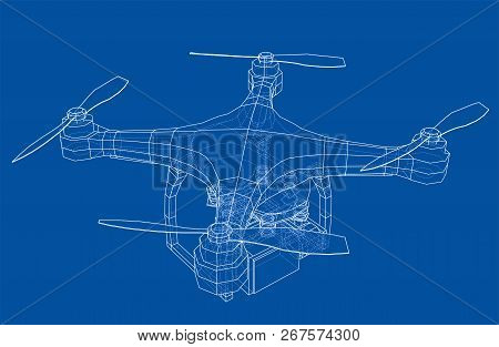 Drone Concept. Vector Rendering Of 3d. Wire-frame Style. The Layers Of Visible And Invisible Lines A