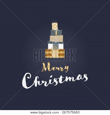 Christmas Time. Christmas Card With Gifts In Festive Colors. Text : Merry Christmas.
