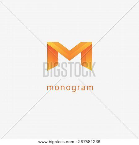 Monogram Design Elements, Graceful Template. Calligraphic Elegant Logo Design. M Logo Line Art Monog