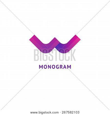Monogram Design Elements, Graceful Template. Calligraphic Elegant Logo Design. W Logo Line Art Monog