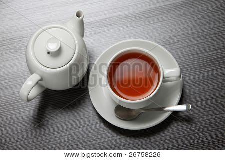 top view of the tea pot and tea cup